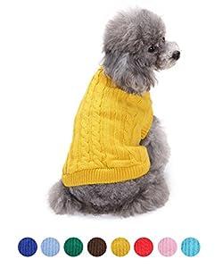 FishBabe Pull d'hiver à col haut pour petit chien, couleur uni, tricoté, mode casual, convient pour les activités en extérieur et en intérieur, résistant, col rabattu en tricot, habit à deux pattes, conçu pour les races teckel, pinscher nain, corgi et shi
