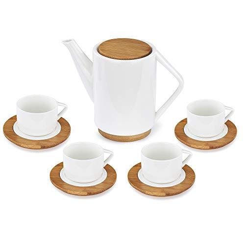 Deerfield Bambus Porzellan Tee Service 9-teilig, Geschenk Set, Teekanne 1000ml mit 4 Teetassen und Untersetzern, Teeservice, modernes Design, Teeliebhaber
