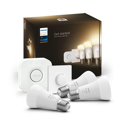 Philips Hue - Bombilla Inteligente, A60 E27, Luz cálida regulable, 10. 5W, Compatible con Alexa y Google Home - Pack de 3 Bombillas LED inteligentes + Botón Inteligente + Hue Bridge