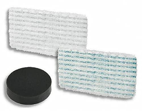 Rowenta ZR005804 - Set di 2 salviette in microfibra e 1 filtro in schiuma, compatibili con pulitori a vapore Clean & Steam Révolution, colore: blu/bianco