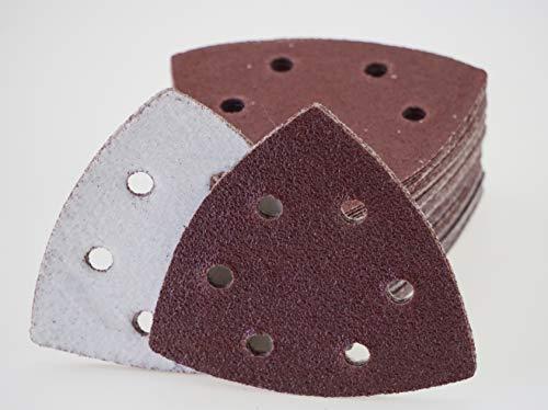 50hojas velcro lijado triangulares para lijadora delta–93x 93x 93mm, 6agujeros–grano 120/lijadora Delta/lijado triangulares/lija