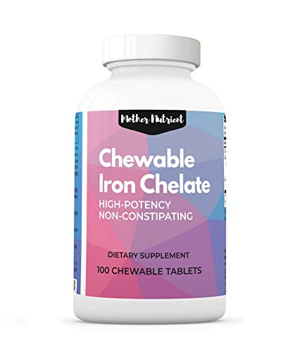 Iron Supplement for Women. High Potency Active Chelated Iron. 100 Chewable Tablets with 30 Milligrams of Ferrochel (Ferric Tris Glycinate). Iron Supplements for Anemia, Non-Constipating, Gluten Free.