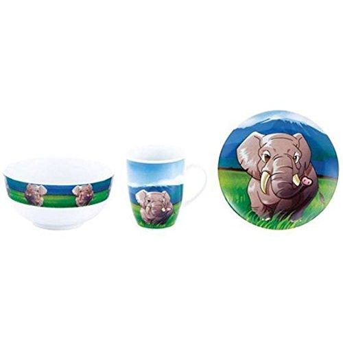 Kaiserhoff Set Petit déjeuner Porcelaine pour Enfants Cartoon éléphant