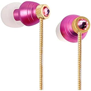 Swarvoski Crystal iBuds by G-Cube IB990R Rose Color Earbud Fully Faceted Xilion - Cut Swarovski Element, Enhanced Bass Driven Sound 10MM Speaker Tangle Free Cable IB-990R