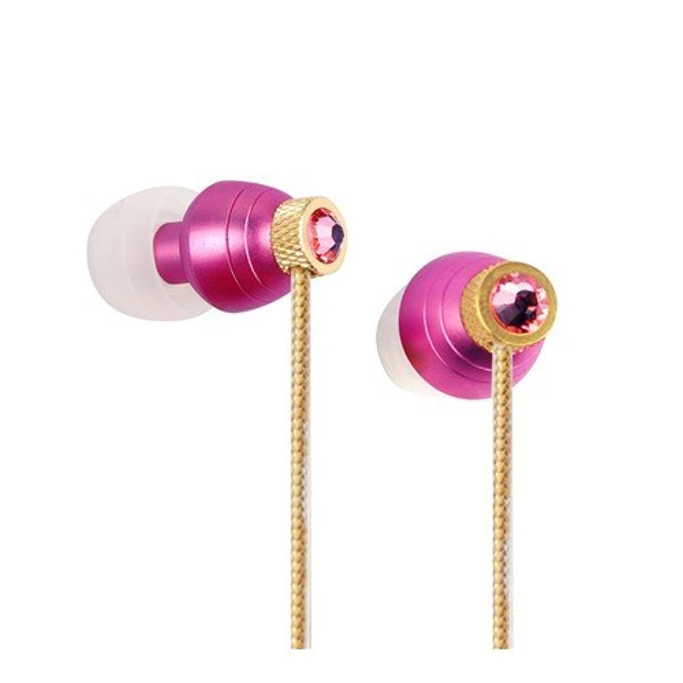 Swarvoski Crystal iBuds by G-Cube IB990R Rose color earbud Fully Faceted Xilion - Cut Swarovski Element, Enhanced Bass driven sound 10MM speaker, with Green Oxygen free Copper and Tangle free cable IB-990R
