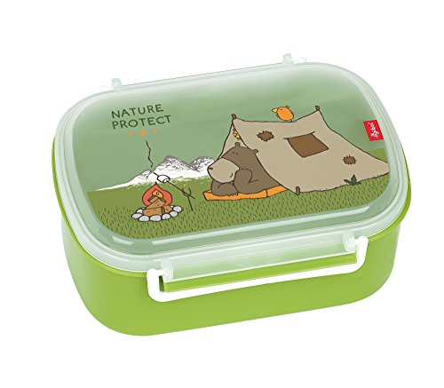 SIGIKID 24780 Brotzeitbox Forest Grizzly Lunchbox BPA-frei Mädchen und Jungen Lunchbox empfohlen ab 2 Jahren grün