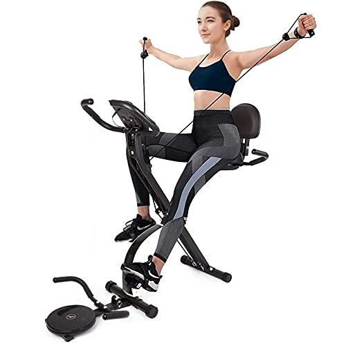 Cyclette Pieghevoli con Disco Rotante e Fasce per Esercizi, Resistenza Magnetica Regolabile a 16 Livelli, con Schienale e Schermo LCD, Cyclette Carico Massimo di 100 kg