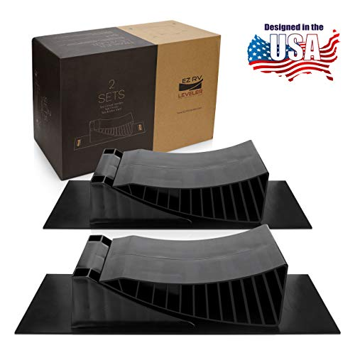 EZ RV Leveler - Curved Leveling Ramps with Chocks and Rubber Mats - Don't Mess with a Guess: Use an RV Leveling Kit That Makes Leveling Fast and Easy - 2 Pack for Tandem Axle Campers