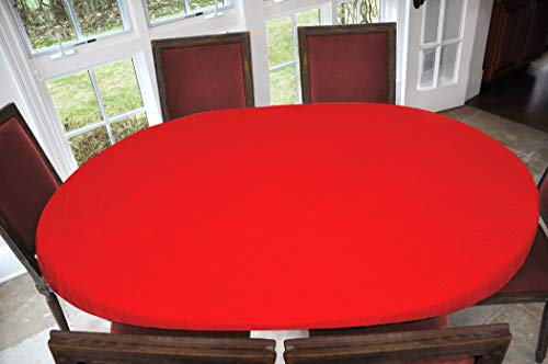 Covers For The Home Deluxe Elastic Edged Flannel Backed Vinyl Fitted Table Cover - Red Pattern - Oblong/Oval - Fits Tables up to 48' W x 68' L