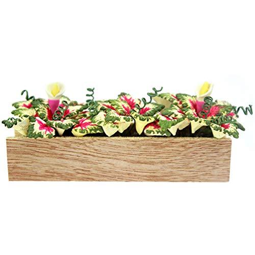 NUOBESTY Dollhouse Window Box Flowers Flower Beds Plants Miniature Landscape Fairy Garden Decor Dollhouse Accessories