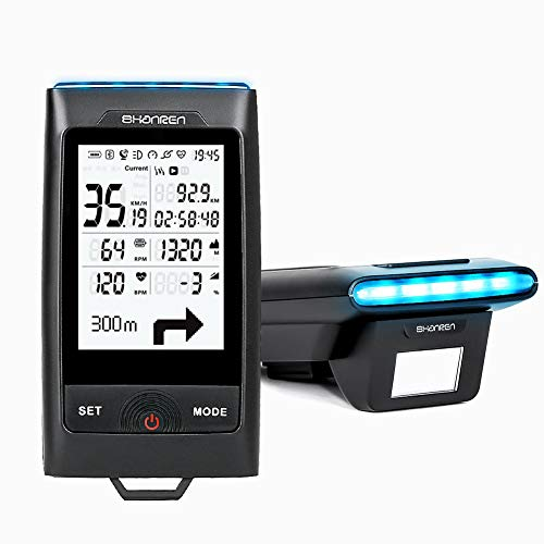 SHANREN GPS Bike Computer Di-Pro, 96-Hour Bluetooth ANT+ Cycling Computer with Headlight, Connecting with Strava Enabled (Di-Pro Black)