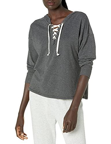 Amazon Brand - Mae Women's Lace Up Sweatshirt With Hood, Charcoal Grey, X-Small