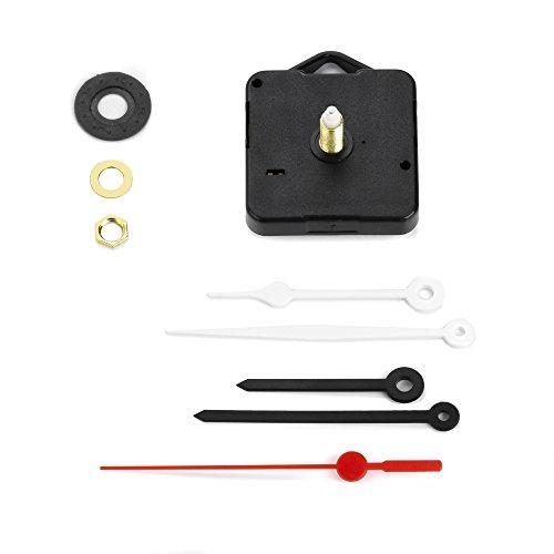 Clock-it preisgünstiges Uhrwerk mit Haken, geräuschlos, stufenlose Drehung, 2 Set Zeiger, Stütze H 22 mm / Gewinde 16 mm. Fachhändler