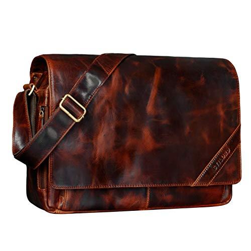 STILORD 'Nick' Vintage Messenger Bag Leather Shoulder Cross-Body Laptop Bag 15.6 inches...
