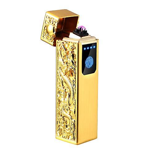 電子ライター USB 充電式 ダブルアークライター ガス オイル 不要/軽量?薄型 持ちやすい 無炎 防風 電気アークプラズマライター 誕生日などのプレゼントも最適 (Gold)