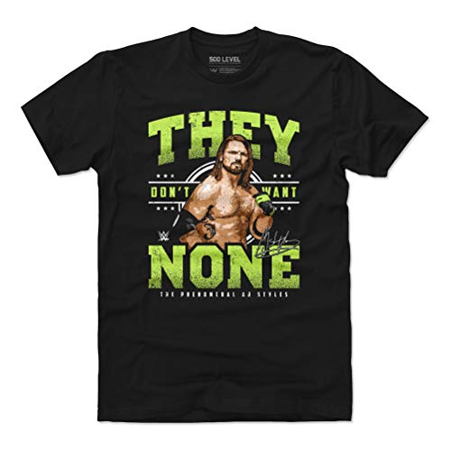 500 LEVEL A.J. Styles WWE Shirt (Cotton, XXX-Large, Black) - A.J. Styles They Don't Want None WHT
