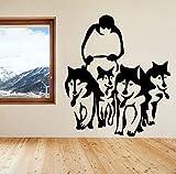 Un grupo de calcomanías de pared de arte husky trineos trineos de trineo etiqueta de pared de vinilo para niños Mascotas Pegatinas de perro Muraux sala de estar Dormitorio 30x54cm