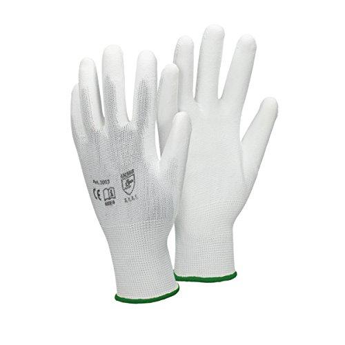 ECD Germany 12 Paar PU-Arbeitshandschuhe, Größe 11-XXL, Farbe Weiß, Mechanikerhandschuhe Montagehandschuhe Nylon Garten, Builders, Mechaniker Handschuhe