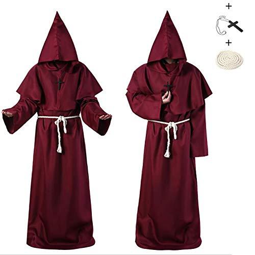 JWTOY Traje de fraile de Sacerdote Medieval renacentista, Ropa de monjes Medievales, Vestido de Traje de Bruja de Traje como sacerdotes y Cristianos Disfraz de Halloween Cosplay Red-L