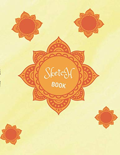 Sketch book notebook for drawing writing painting sketching, Yellow watercolor texture background cover, 100 pages