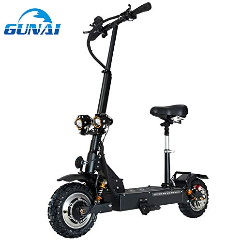 GUNAI Electric Scooter Max Speed 85km/h 3200W Double Drive 11 inch Off-Road Folding Commuting Scooter with Seat and 60V Battery