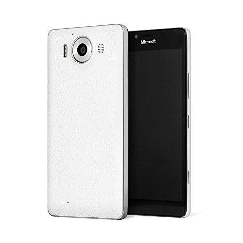 Mozo 950BWSWN Custodia per Microsoft Lumia 950, Bianco/Argento
