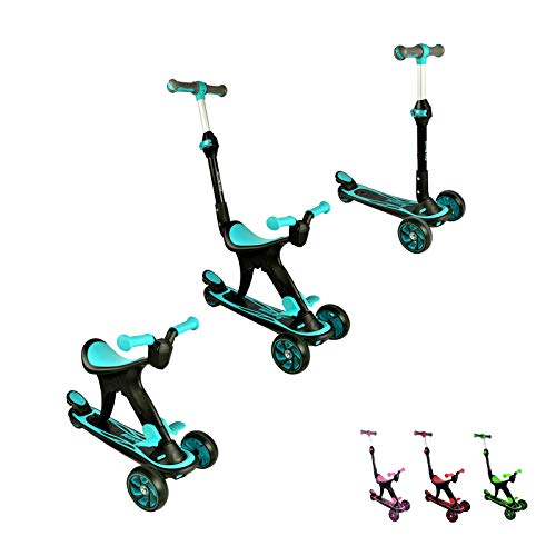 Forc Kick Scooter Toddler Scooter 3 in1 Scooter for Kids,Adjustable Height W/Extra-Wide Deck and Back Wheel Brake, Kids Scooter & Toddler Scooter for Ages 3-9 Years Old Boys and Girls