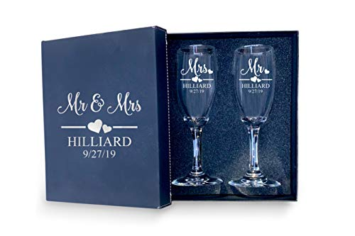 Mr and Mrs Wedding Toasting Champagne Flutes with Box, Set of 2 Glasses With Box, Laser engraved Tosting Flutes Engraved Personalized Glasses for Bride and Groom