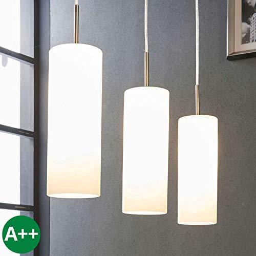 Lindby Pendelleuchte 'Vinsta' dimmbar (Modern) in Weiß aus Glas u.a. für Wohnzimmer & Esszimmer (3 flammig, E27, A++) - Hängelampe, Esstischlampe, Hängeleuchte, Wohnzimmerlampe