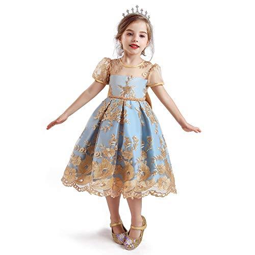 NNJXD Tyll blomma prinsessa halloween festklänning för barn