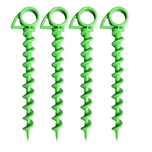 Ashman Bodenanker aus Kunststoff, spiralförmig, 25,4 cm, Grün – ideal für Camping, Sicherung von Tieren, Zelten, Vordächern, Schuppen, Autoanschlüssen, Schaukel-Sets (4 Stück)