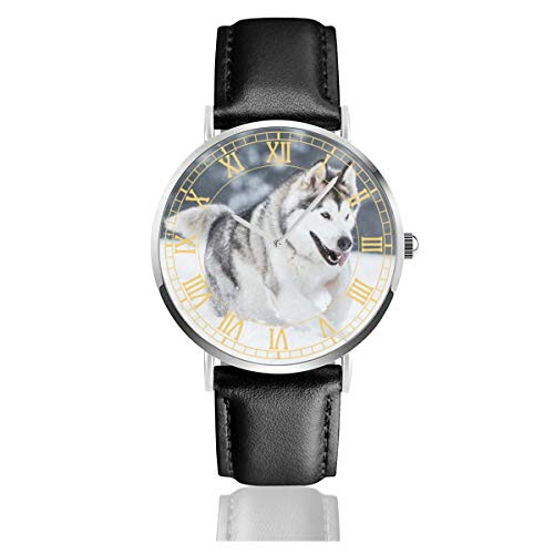 Womens Watch Alaskan Malamute Running Leather Strap Wrist Watch Silvery Stainless Steel Watchcase Business Simple Quartz Watches Waterproof Crystal Dial 38mm for Boys