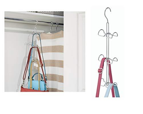 iDesign Handtaschenhalter für Garderobe und Kleiderschrank, großer Bügel mit 6 Haken aus Metall, Hängeorganizer für Taschen und Accessoires, silberfarben