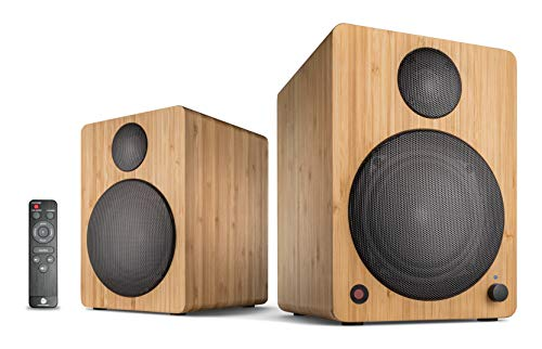 wavemaster CUBE NEO bamboo - Regallautsprecher-System (50 Watt) mit Bluetooth-Streaming, Digitalanschluss und IR-Fernbedienung, Aktiv-Boxen, Nutzung für TV/Tablet/Smartphone, Bambus (66383)
