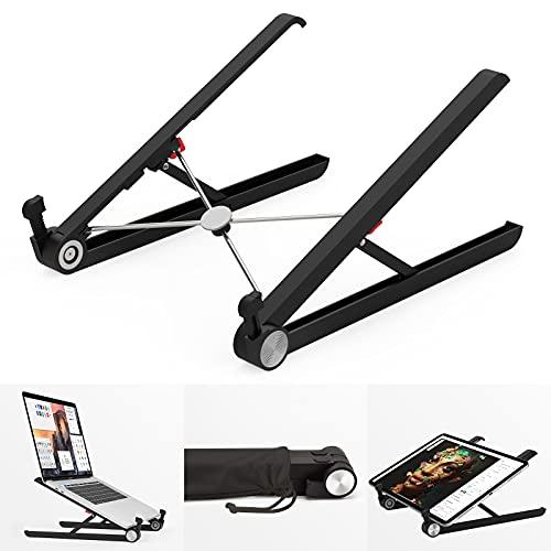 Klearlook Laptop Stand Holder, Foldable Portable Ventilated Adjustable Laptop Riser with Carry Bag,Lightweight Desktop Ergonomic Space-save Notebook Tray Mount for iM ac/Laptop & 11-17' Tablet-Black