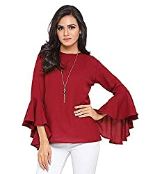 Istyle Can Womens Top (Crepe top with Flute Sleeves)