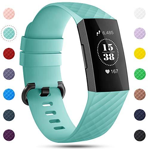 Onedream Kompatibel für Fitbit Charge 3/ Charge 4 Armband für Damen Herren, Silikon Sport Ersatzarmband Kompatibel für Fitbit Charge 4/ Charge 3/ Special Edition Uhr Tracker, Zubehör Band Tiffany Blau
