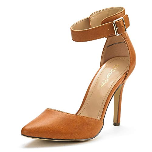 DREAM PAIRS Oppointed-Ankle Women's Pointed Toe Ankle Strap D'Orsay High Heel Stiletto Pumps Shoes Tan Pu-sz-9