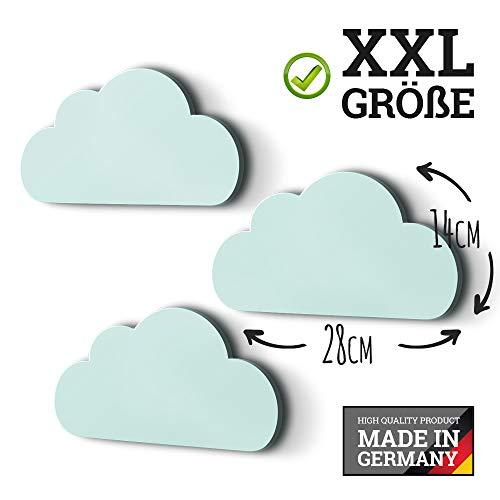 3er Set XXL Wolken mit 3D-Effekt als Kinderzimmer Deko Wandtattoo Kinderzimmer 30x15 cm 5mm Kunststoff (mint)