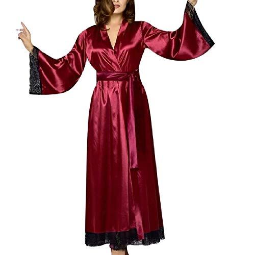 Nachtwäsche Sexy Bademantel Frauen Robe Frauen Sexy Lange Seide Kimono Morgenmantel Bademantel Babydoll Dessous Nachthemd Gr. Small, rot