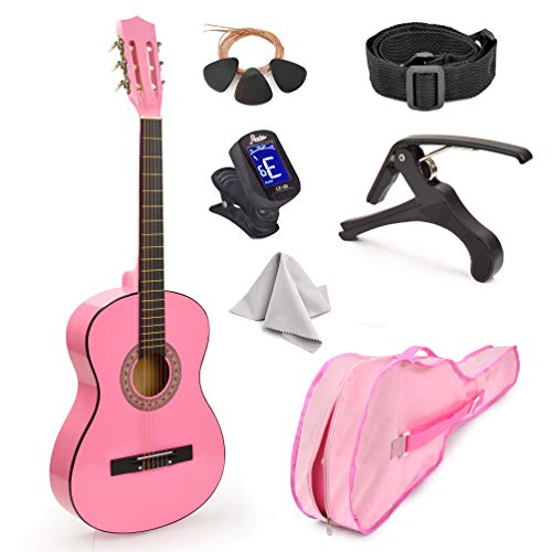 30' Wood Guitar with Case and Accessories for Kids/Girls/Boys/Beginners (Pink)