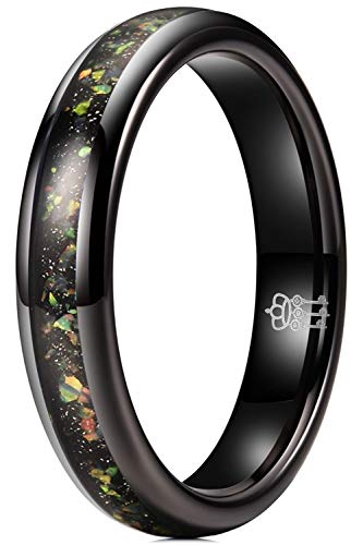 THREE KEYS JEWELRY Nature Tungsten Carbide Womens Galaxy Colourful Opal Wedding Band 4mm Ring Polish for Women Inlay Engrave Engagement Black Size 5