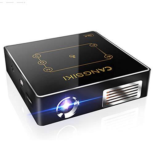 QXue Proyector Bluetooth Portátil Proyector de Cine en Casa Pequeño ProyectorBatería De Incorporada De 5000 Mah,Soporte HDMI Entrada/WiFi/Bluetooth/USB/TV Box,1+16g