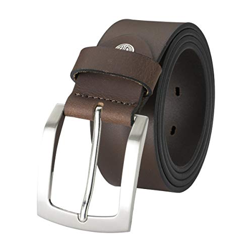 Lindenmann Mens leather belt/Mens belt, full grain leather belt XXL,buffalo leather, dark brown, Farbe/Color:marron, Size:100