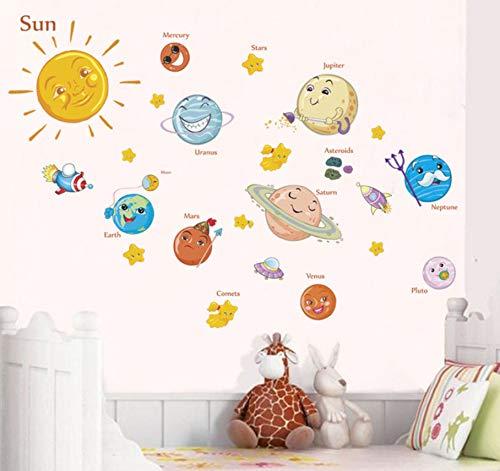 Système solaire Stickers muraux de dessin animé pour chambres d'enfants Stars étoiles de l'espace planètes Terre Soleil Saturn Mars affiche Mural école decor90x30cm