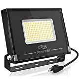 CP3 Commercial LED 100W Flood Light1000W Equivalent Outdoor Work Light 8700LM 5000K Daylight White Security Lightwith Switch UL Cord Plug IP66 Waterprooffor Yard Garden Playgrounds Stadium