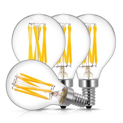 E12 Candelabra LED Light Bulbs 60 Watt Equivalent, DORESshop 6W Dimmable LED Filament Bulb, Decorative Edison G45(G14) LED Globe Bulbs, 2700K Warm White 600LM, Filament Clear Glass, Pack of 4