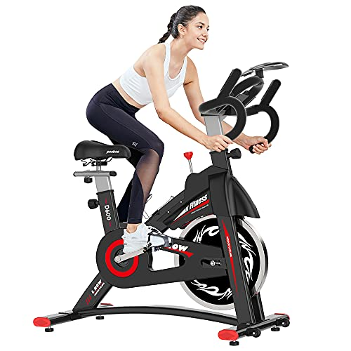 pooboo Indoor Cycling Bike Stationary - Exercise Bike with Comfortable Seat Cushion, iPad Holder & LCD Monitor (Black)