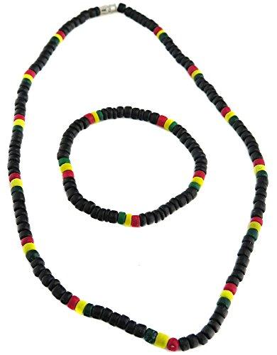 Bracelet Et Collier Rasta Drapeau Jamaique Reggae en Bois Coco Ajustable topt