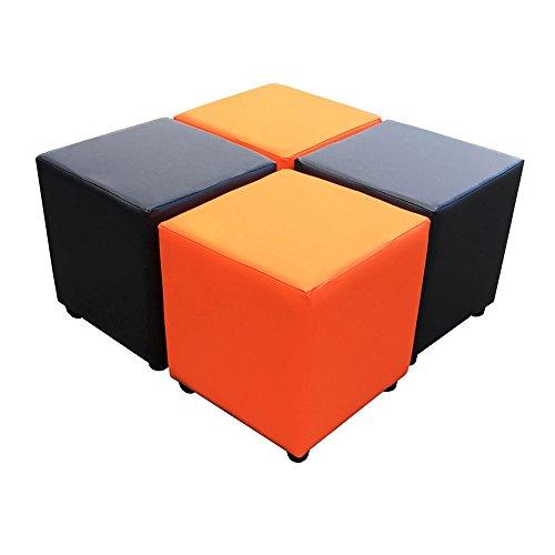 Footstools2u Cube Siège, 2 Orange, 2 Noir Idéal pour n'importe Quelle Occasion.
